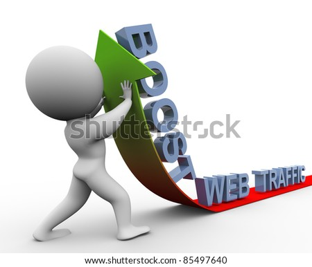 3d man pushing arrow up. Concept of boosting web traffic - stock photo
