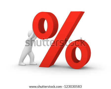 3d man pushing big red percent sign. 3d rendering. - stock photo