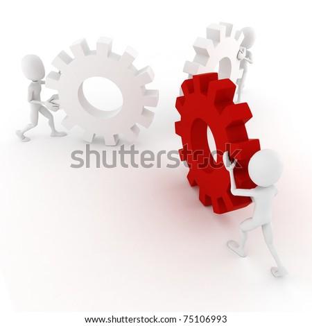 3d man pushing ghear wheels - stock photo