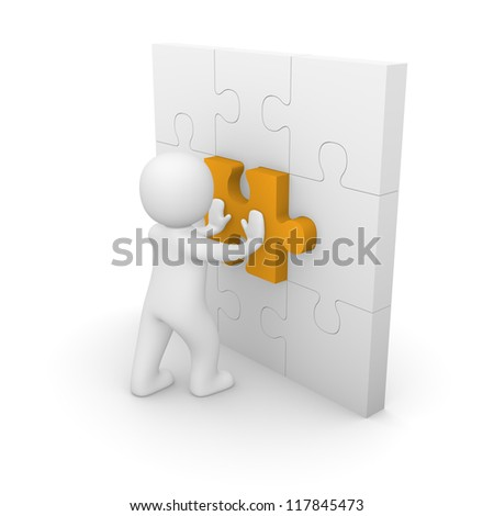 3d man pushing puzzle piece into wall. 3d rendering. - stock photo