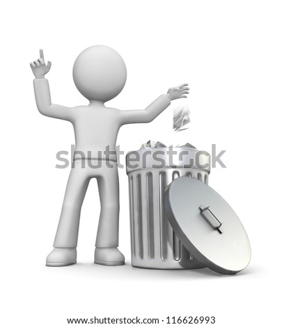 3d man putting paper in container. - stock photo