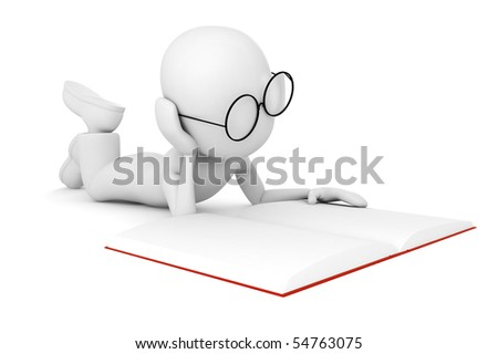 3d man reading a book, isolated on white - stock photo