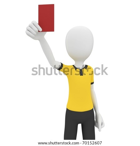3d man referee with red card isolated on white - stock photo