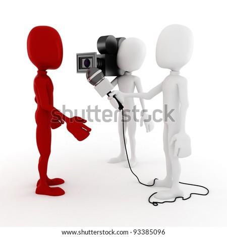 3d man reporter - interview - stock photo