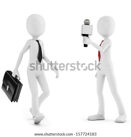 3d man reporter meeting stranger on white background - stock photo