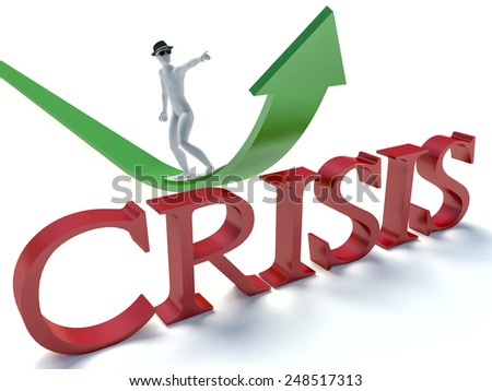 3d man running over the text crisis. Concept of problem solving, crisis management - stock photo