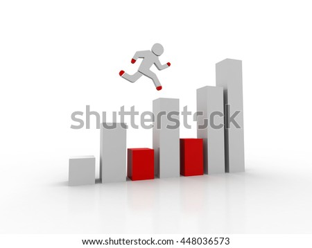 3d man running to the top of green business graph - stock photo