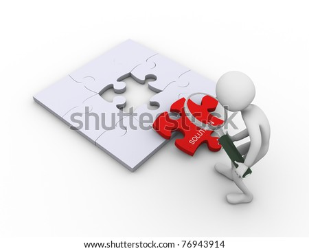 3d man searching for solution using magnifying glass - stock photo