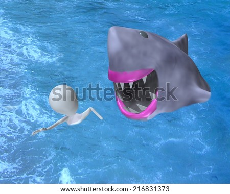 3d man shark attack 3d illustration - stock photo