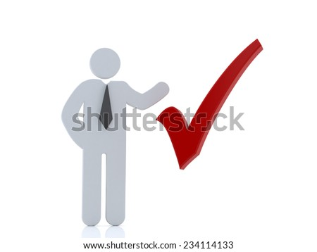 3d man showing hand with red check mark over white background  - stock photo