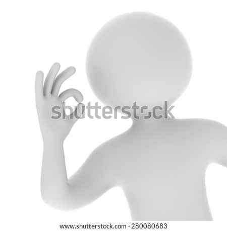 3d man showing okay hand gesture isolated on white background - stock photo
