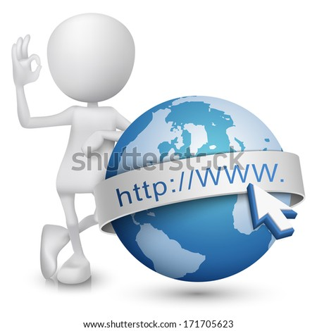 3d man showing okay hand sign with an internet model - stock photo