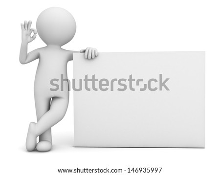 3d man showing okay hand sign with blank board isolated over white background - stock photo