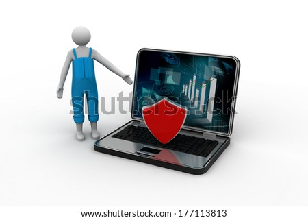3d man showing the laptop - safety online business - stock photo