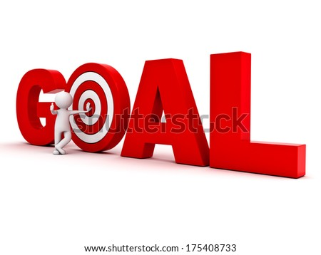 3d man showing thumb up and leaning against red target in word goal isolated over white background, Business goal concept - stock photo