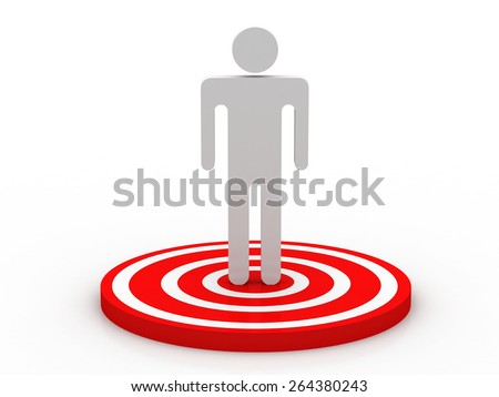 3d man showing thumb up and standing on red target - stock photo