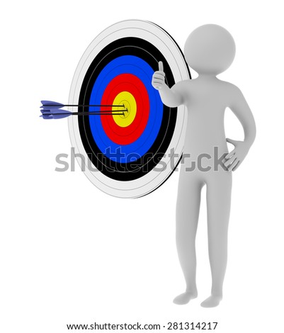 3d man showing thumb up standing with target and arrows in center isolated on white background - stock photo