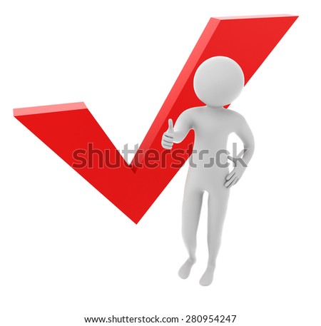 3D man showing thumb up with red check mark isolated on a white background - stock photo
