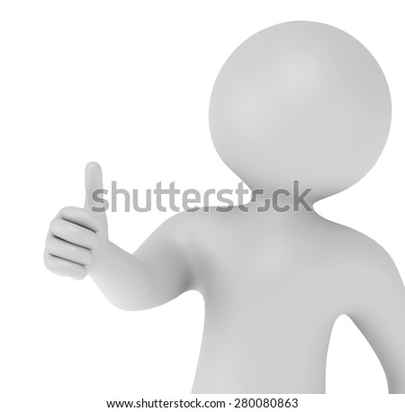 3d man showing thumbs up like isolated on white background - stock photo