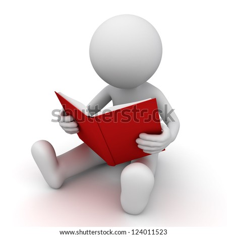 3d man sitting and reading a red book over white background - stock photo