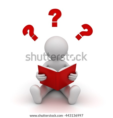 3d man sitting and reading a red book with question marks isolated over white background. 3D rendering. - stock photo