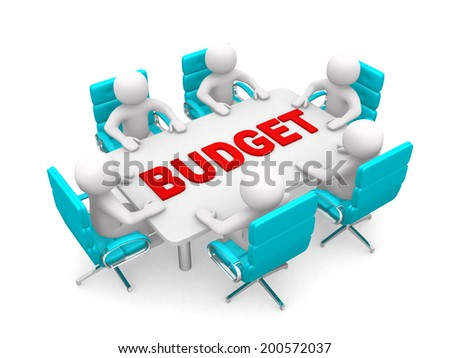 3D man sitting at a round table and having business meeting - 3d render illustration - and word BUDGET - stock photo