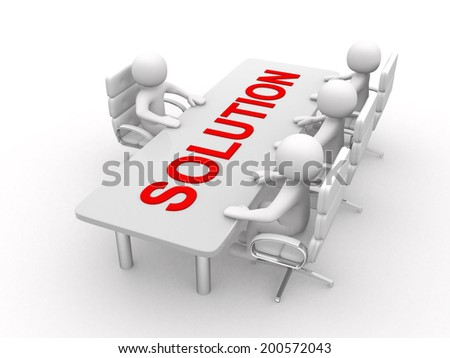 3D man sitting at a table and having business meeting - 3d render illustration - stock photo