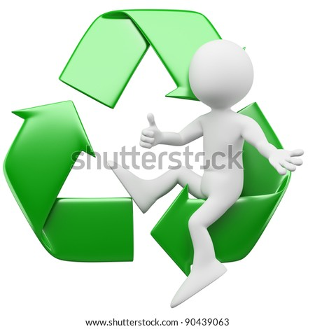 3D man sitting in the recycling symbol - stock photo