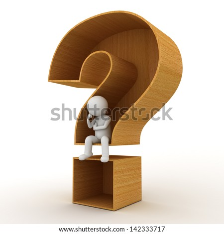 3d man sitting in wooden question mark concept on white background - stock photo