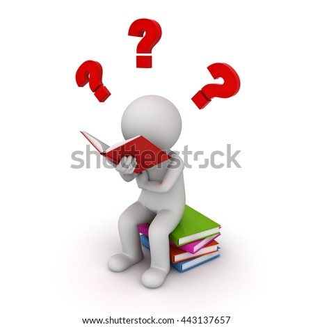 3d man sitting on a pile of books and reading with red question marks isolated over white background. 3D rendering. - stock photo