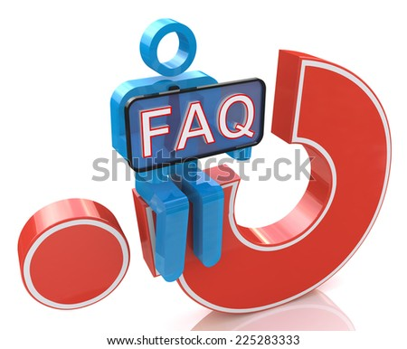 3d man sitting on red question mark holds a placard with the word faq in the design of the information related to the Frequently Asked Question - stock photo