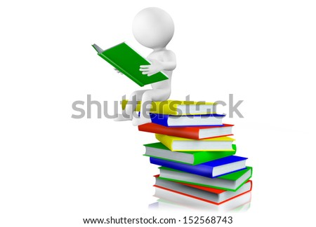 3d man sitting reading a hardcover book balanced on top of a pile of books arranged in a haphazard manner, isolated on white. - stock photo