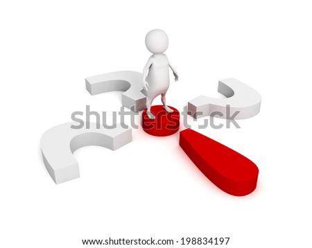 3d man solve a problem with question marks. concept 3d render illustration - stock photo