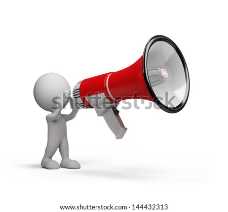 3D man speaks in a big megaphone. 3d image. White background. - stock photo