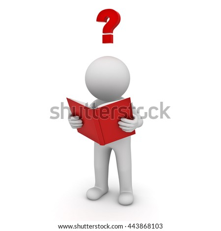 3d man standing and reading a book with red question mark isolated over white background. 3D rendering. - stock photo