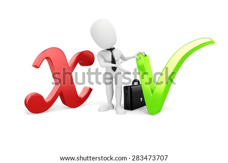 3d man standing between positive and negative symbols - stock photo