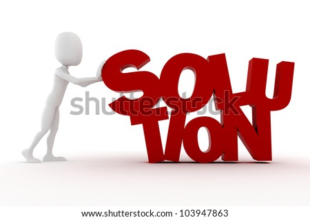 3d man standing near SOLUTION text, on white background - stock photo