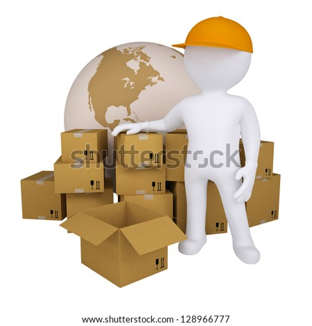 3d man standing near the boxes. Isolated render on a white background - stock photo