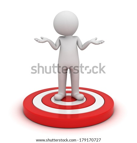 3d man standing on dart board and having no idea isolated over white background - stock photo