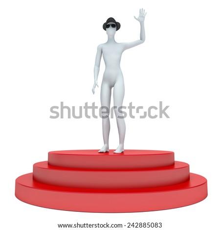 3d man standing on the podium - stock photo