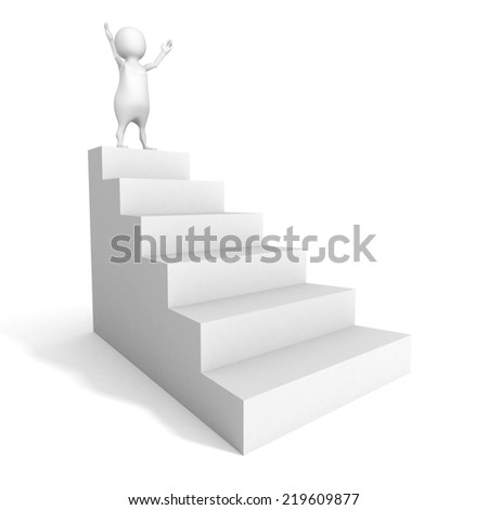 3d man standing on top of white ladder. success achivement concept 3d render illustration - stock photo