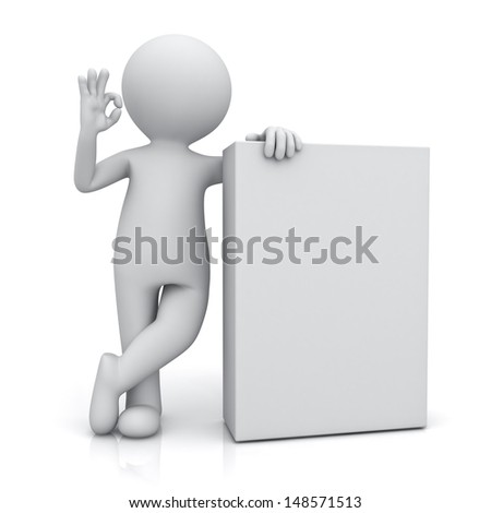 3d man standing with blank box and showing okay gesture isolated on white background with reflection - stock photo