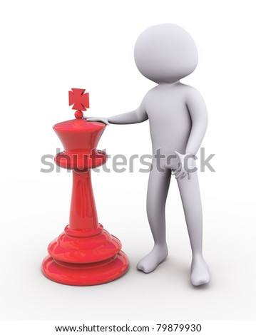 3d man standing with large red chess peace - stock photo