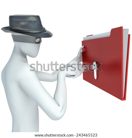 3d man stealing documents - stock photo