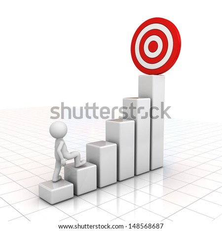3d man stepping up to his successful goal on top of business graph over white background with reflection - stock photo