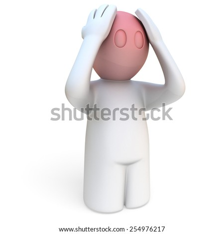 3d man stressed, holding red head with hands on white background - stock photo