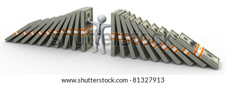 3d man supporting falling dollars packs - stock photo