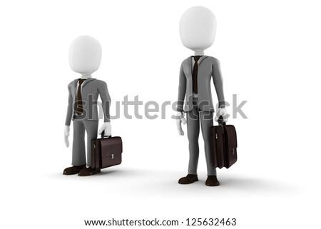 3d man tall and short businessman - stock photo