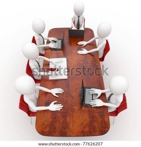 3d man team meeting in conference room - stock photo