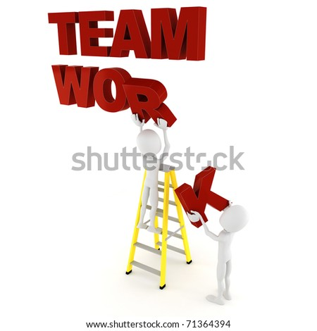 3d man team work - stock photo